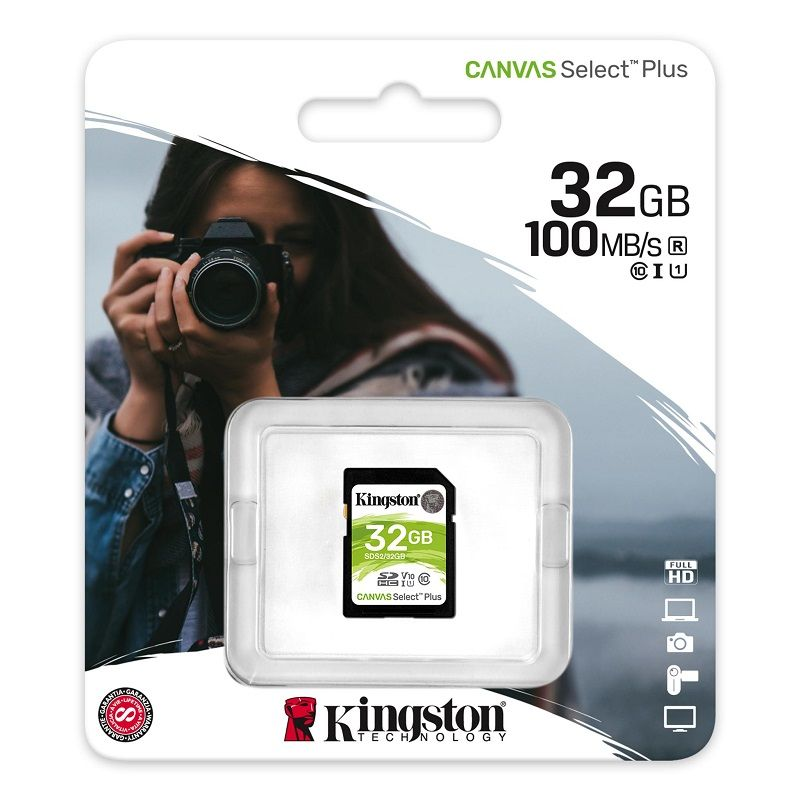 KINGSTON CANVAS SELECT PLUS SDHC 32GB CLASS 10 UHS-I U1 V10 100/10 MB/S